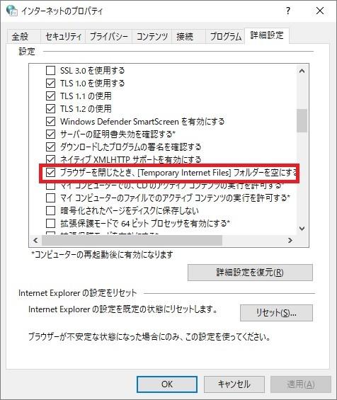 win10 インターネットオプション 詳細設定タブ
