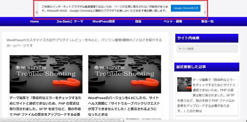 IE(Internet Explorer)ではページが正常に表示されない可能性があることを表示するプラグイン「WP IE Buster」の画像|Knowledge Base