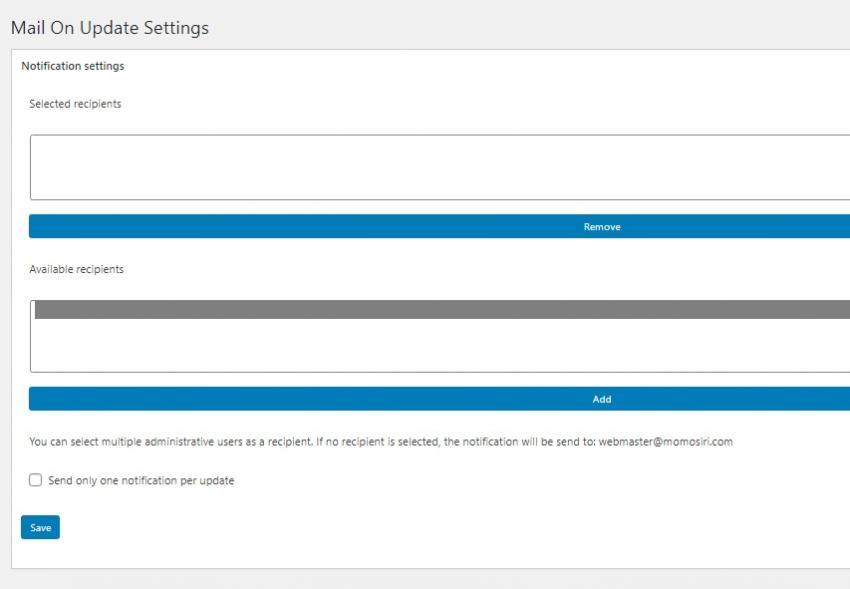 【WordPress】プラグインの更新バージョンがあることをメールで知らせてくれる「Mail On Update」の画像|Knowledge Base